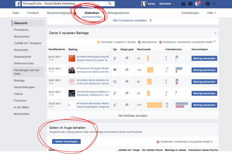 Facebook Seiten von anderen im Blick behalten