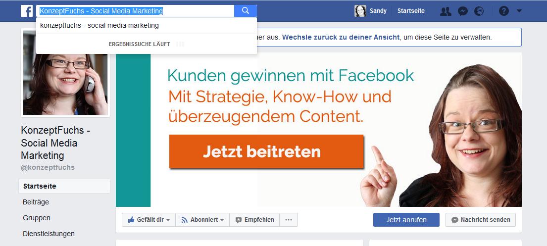 Facebook Suchleiste